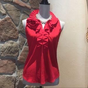 ☀️ 3/$15 NY&Co red sleeveless stretch ruffle top